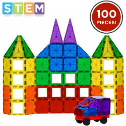100-Piece Kids Clear Rainbow Magnetic Building Block Tiles Toy Set