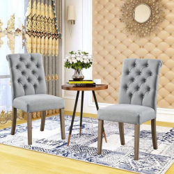 Valence Grey Upholstery Button Tufting Dining Accent Chair Set of 2