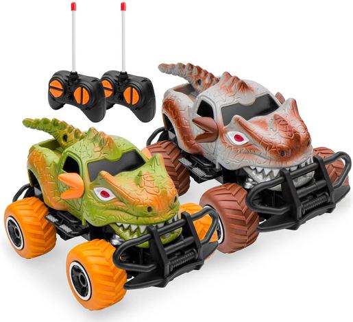 Set of 2 27MHz Mini Toy Dinosaur RC Remote Control Cars w/ 9mph Max Speed