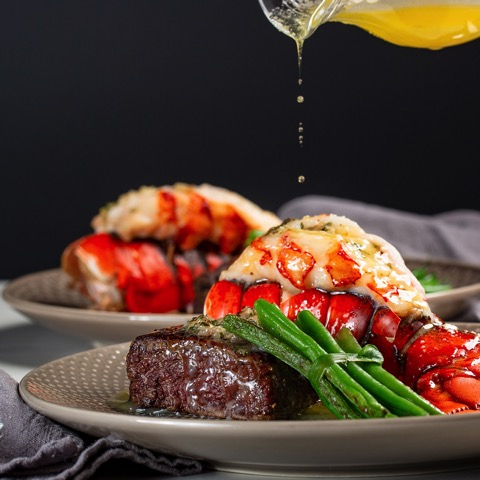 Plated Lobster and Filet Dinner
