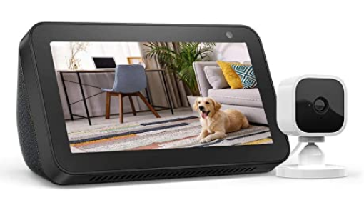 Echo Show 5 Charcoal with Blink Mini Indoor Smart Security Camera
