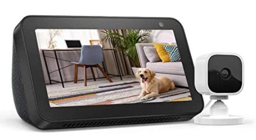 Echo Show 5 Charcoal con Blink Mini cámara de seguridad inteligente para interiores