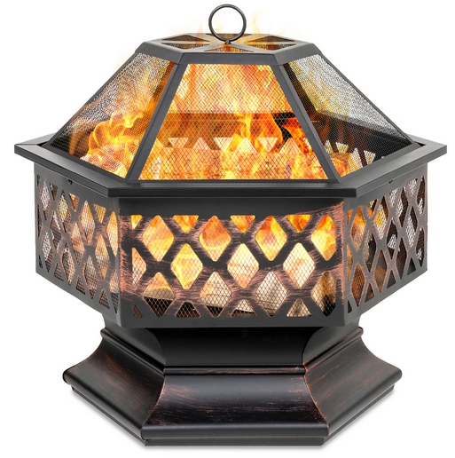 Hex-Shaped Outdoor Fire Pit with Flame-Retardant Lid