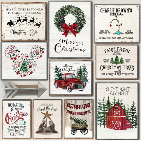 Large Cozy Christmas Art Prints