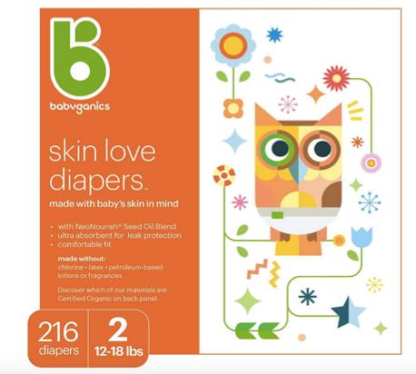 Babyganics Diapers, Size 2, 216 ct
