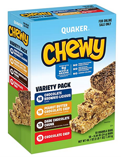 Quaker Chewy Granola Bars Chocolate Lovers Variety Pack 58-Pack