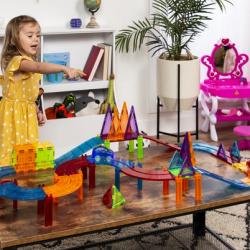 105-Piece Kids Magnetic Tile Car Race Track STEM Building Toy Set w/ 2 Cars