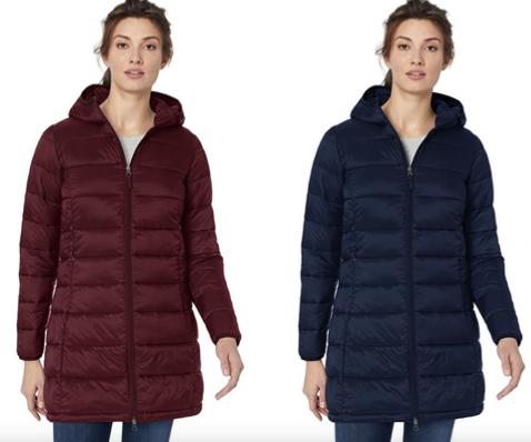Women's Lightweight Long-Sleeve Full-Zip Water-Resistant Packable Hooded Puffer Coat