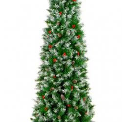 Partially Flocked Spruce Pencil Christmas Tree