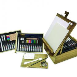 KingArt 105-Piece Mixed Media Easel Art Kit
