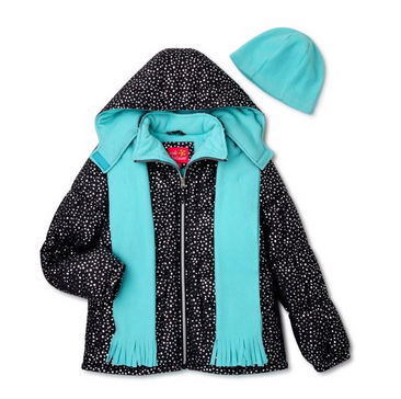Pink Platinum Girls Foil Print Puffer Coat, Scarf and Hat