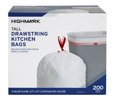 Highmark™ Tall 0.6 mil Drawstring Kitchen Trash Bags