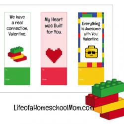 Printable LEGO Valentine Bookmarks