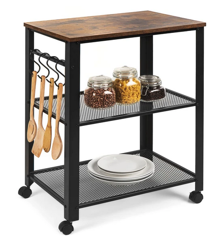 3-Tier Microwave Cart Rolling Utility Serving Cart w/ 2 Shelves
