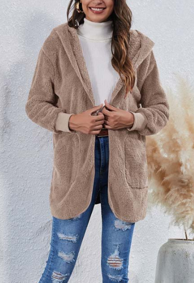 Women's Sherpa Hooded Open Jackets