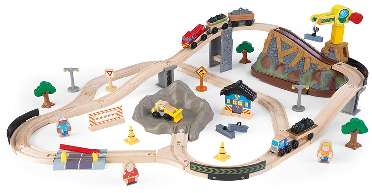 KidKraft 61-Piece Construction Train Set
