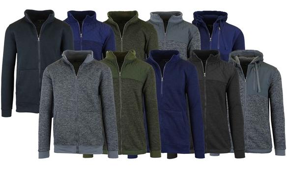 3-Pack Men's Marled Fleece Zip Sweater