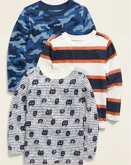 Long-Sleeve Crew-Neck Tee 3-Pack for Toddler