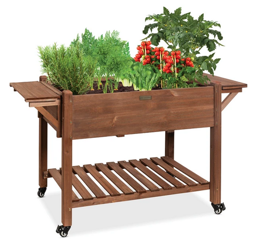 Mobile Raised Garden Bed Elevated Wood Garden Planter Stand