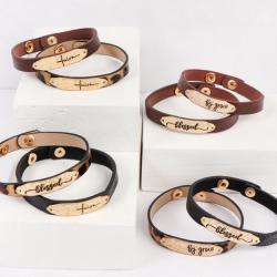 Engraved Leather Strap Bracelet