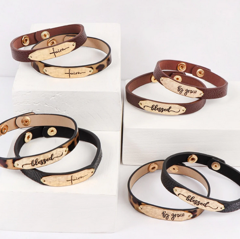Engraved Leather Strap Bracelet