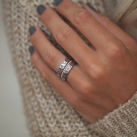 Personalized 2 Stackable Stamp Rings + Spacer Ring