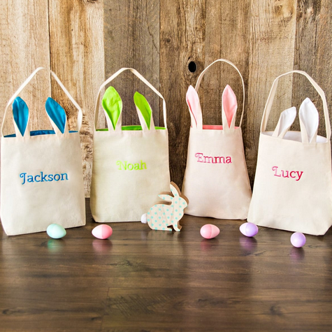 Personalized Bunny Tote Bags