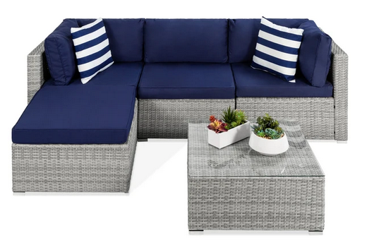 5-Piece Modular Wicker Sectional Conversation Set