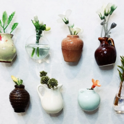Mini Vase Refrigerator Magnets Set