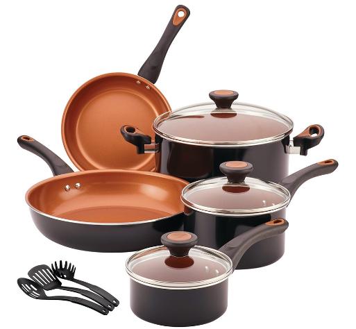 Farberware 11-Piece Aluminum Ceramic Cookware Set