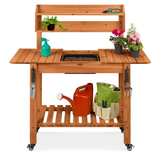 Pre-Stained Wood Garden Potting Bench w/ Sliding Tabletop
