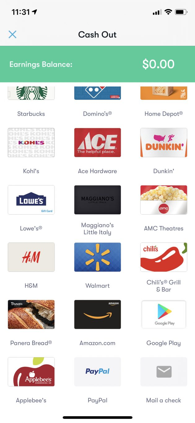 gift card options for cash out