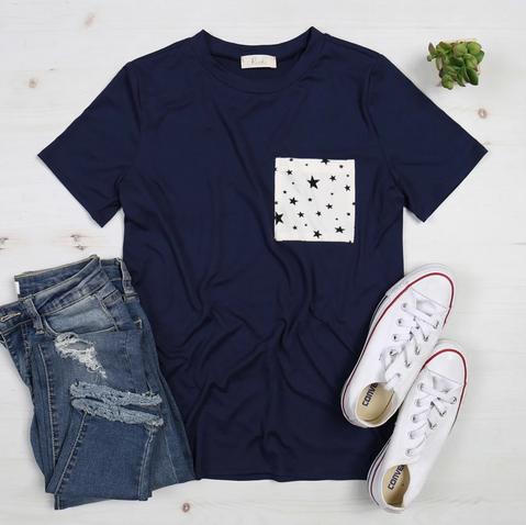 Short Sleeve Star Pocket Top