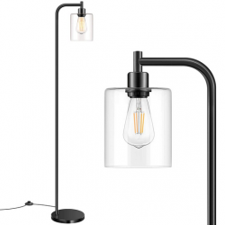 Industrial Floor Lamp with Hanging Glass Shade