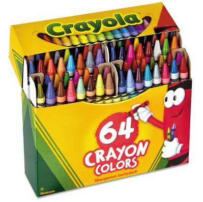 Crayola Crayons Box with Built-In Sharpener, 4 Sizes, 64 Count