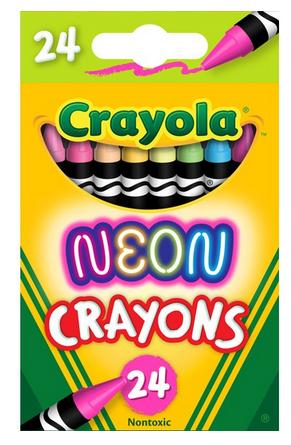 Crayola Neon Crayons, Assorted Colors, Beginner Child, 24 Pieces