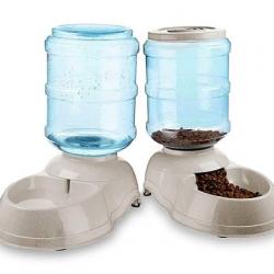 White Self Dispensing Pet Food Bowl & Water Bowl Set