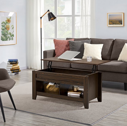 SmileMart Wooden Small Space Lift Top Coffee Table with 2 Storage Compartments