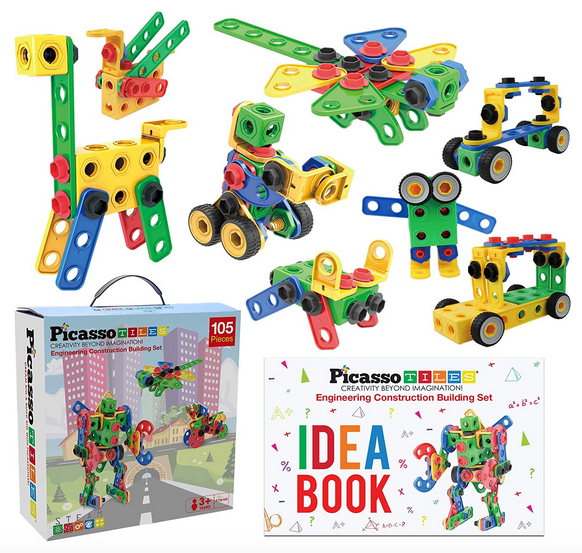 PicassoTiles STEM Learning Toys 105 Piece Building Block Set
