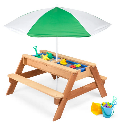 3-in-1 Kids Sand & Water Table Outdoor Wood Picnic Table w/ Umbrella
