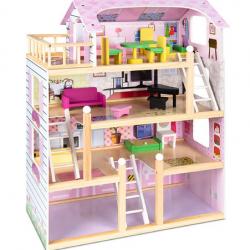 4-Level Kids Wooden Dollhouse w/ 13 Furniture Accessories