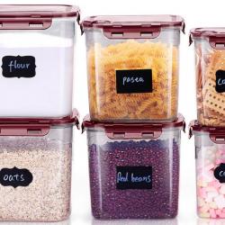 6-Piece Plastic Flour Storage Containers