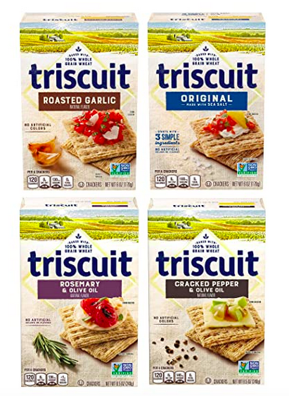 Triscuit Whole Grain Crackers 4 Flavor Variety Pack, 4 Boxes