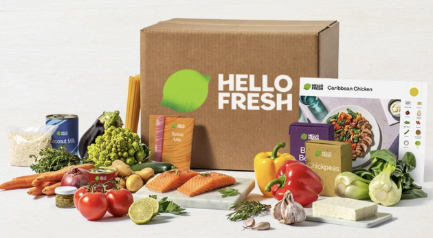 Hello Fresh box with ingredients