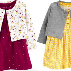2-Piece Geo Print Bodysuit Dress & Cardigan Set