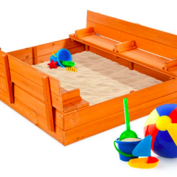 Kids Cedar Sandbox with Sand Screen and 2 Benches