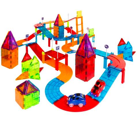 212-Piece Kids Magnetic Tile Car Racetrack STEM Building Toy Set
