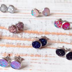 Round Mini Druzy Earrings